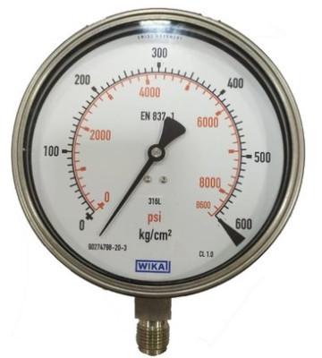 0-600 KG 100MM WIKA PRESSURE GAUGE BOTTOM MOUNTING 232.50